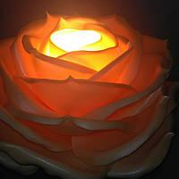 Светильник - ночник роза абрикосовая. Ростовые цветы из изолона.