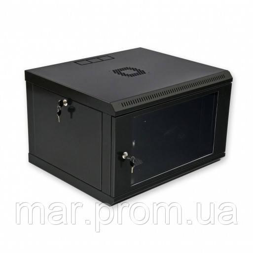 Шкаф 6U, 600x500x373мм (Ш * Г * В), эконом, акриловое стекло, чёрный