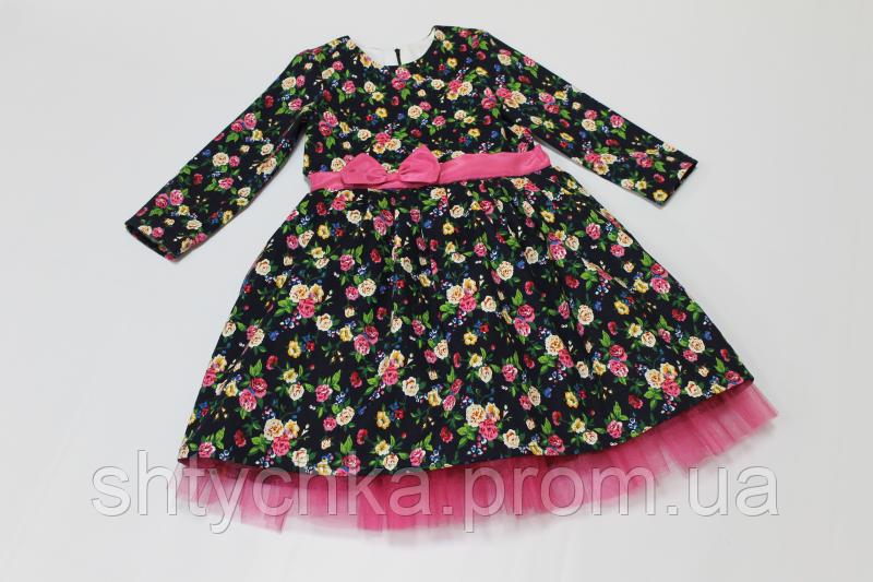 """Нарядное платье на девочку """" Льняной цветочек"""" на темно синем фоне"""
