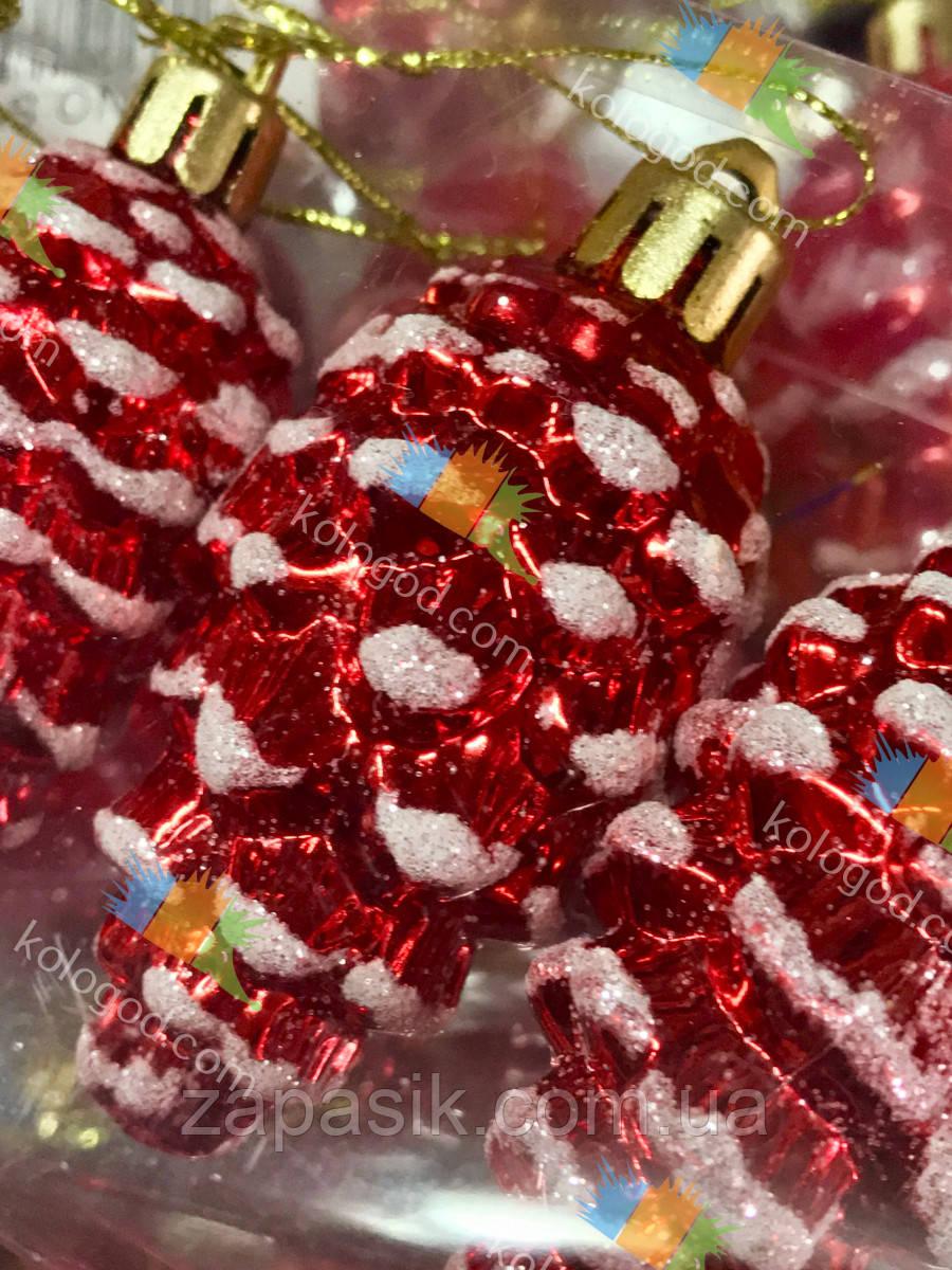 Елочная Игрушка Новогоднее украшение Шишка Заснеженная в Упаковке 5 шт 5 см Цвета В Ассортименте