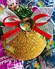 Елочная Игрушка Новогодний Шар Заснеженный с Шишкой Колокольчиком 7 см Цвета в Ассортименте, фото 2