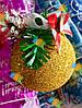 Елочная Игрушка Новогодний Шар Заснеженный с Шишкой Колокольчиком 7 см Цвета в Ассортименте, фото 3
