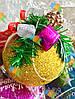 Елочная Игрушка Новогодний Шар Заснеженный с Шишкой Колокольчиком 7 см Цвета в Ассортименте, фото 6