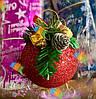 Елочная Игрушка Новогодний Шар Заснеженный с Шишкой Колокольчиком 7 см Цвета в Ассортименте, фото 7
