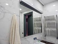 Зеркало с подсветкой в санузел в алюминиевом профиле на заказ в Киеве