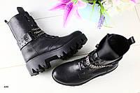 Зимние женские кожаные ботинки