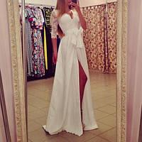 Длинное белое платье золотой песок