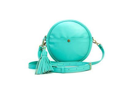 Шкіряна жіноча сумка свіжого м'ятного кольору
