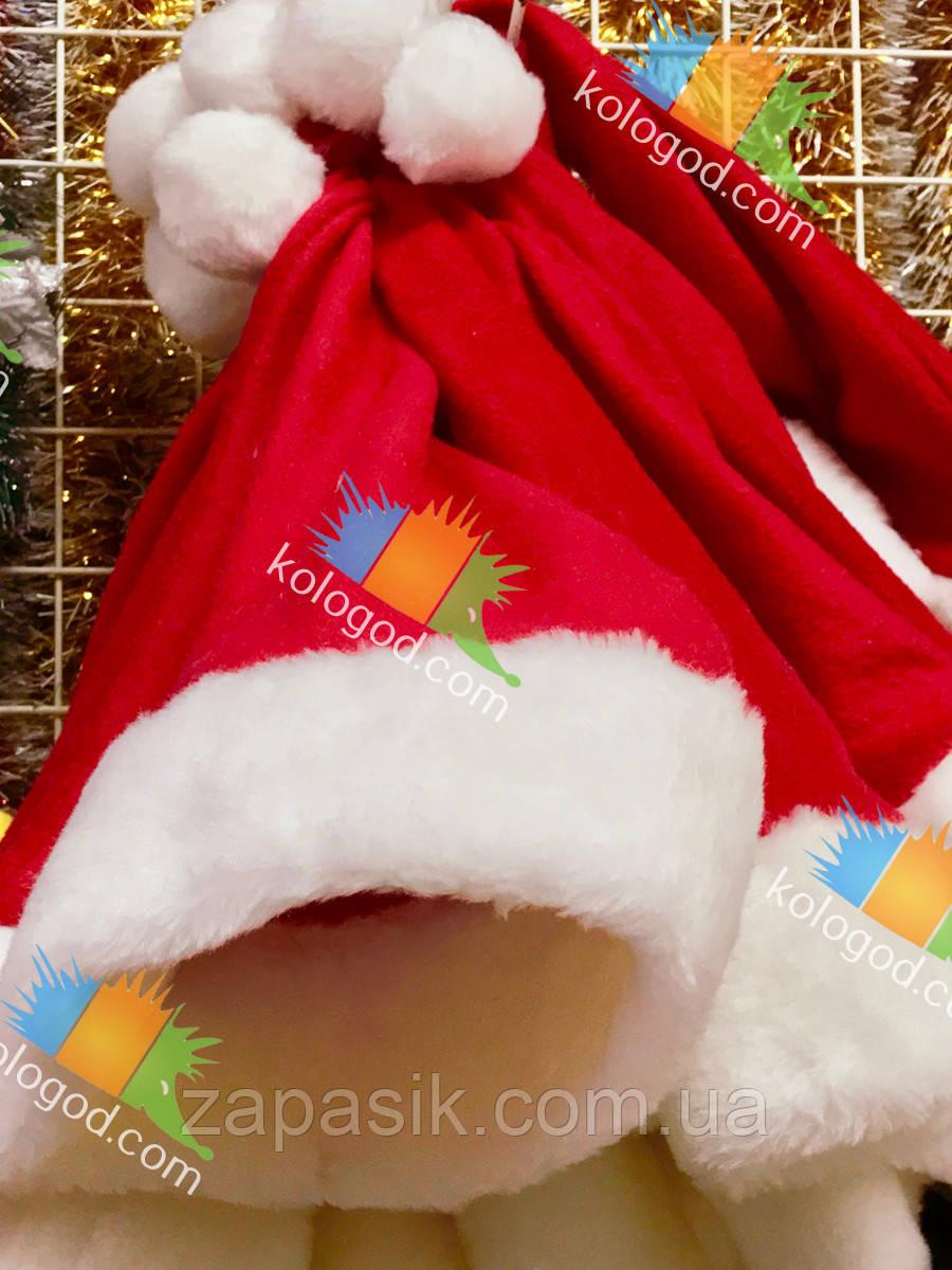 Новогодняя Шапка Деда Мороза Колпак Санта Клауса Высшее Качество Утепленная в Упаковке 12 шт