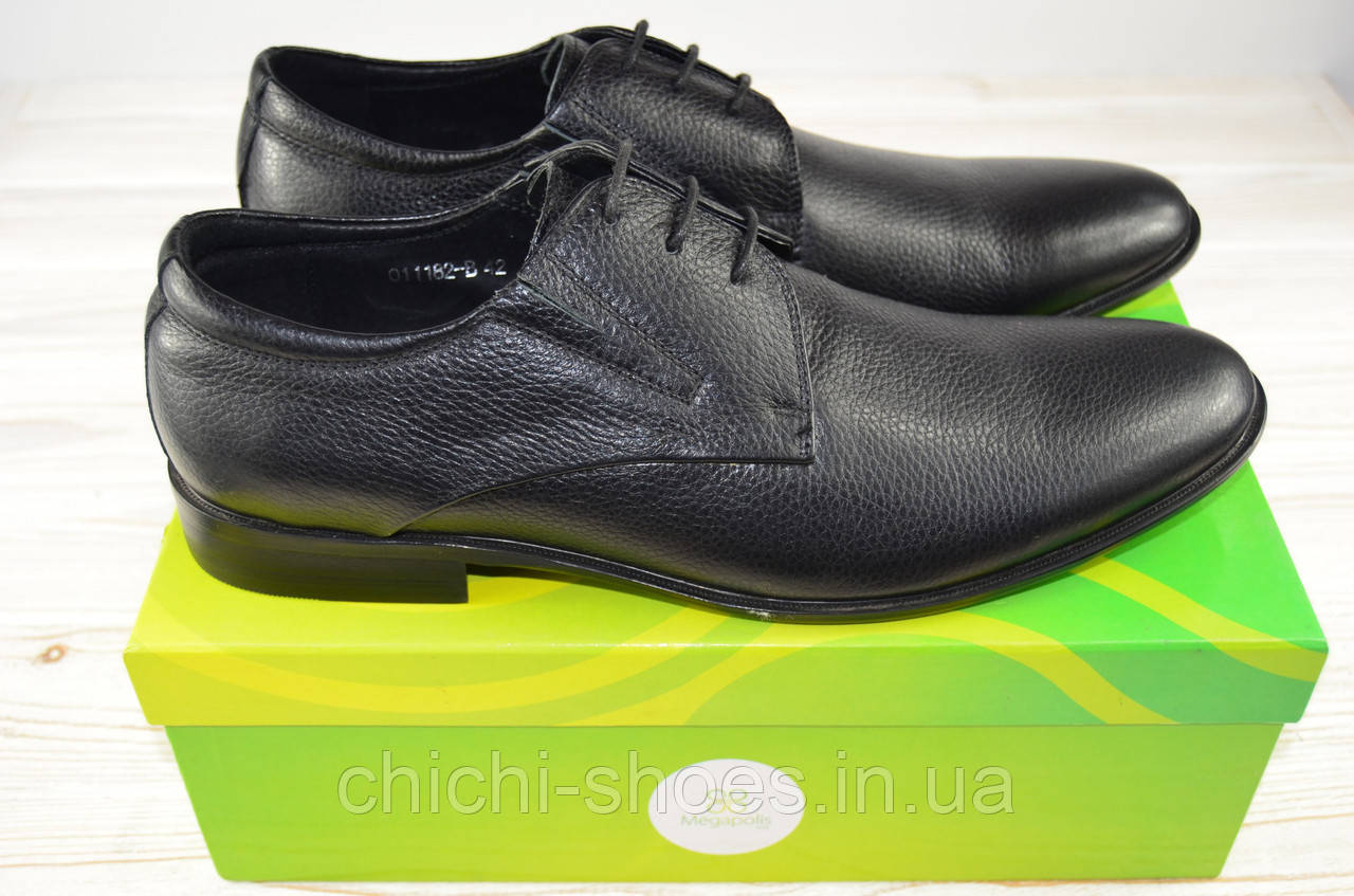 Туфли мужские Megapolis 11182 чёрные кожа на шнурках