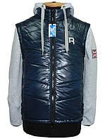 Топ Продаж!Молодежная разборная утепленная куртка-жилет с капюшоном Reebok для подростков и мужчин.