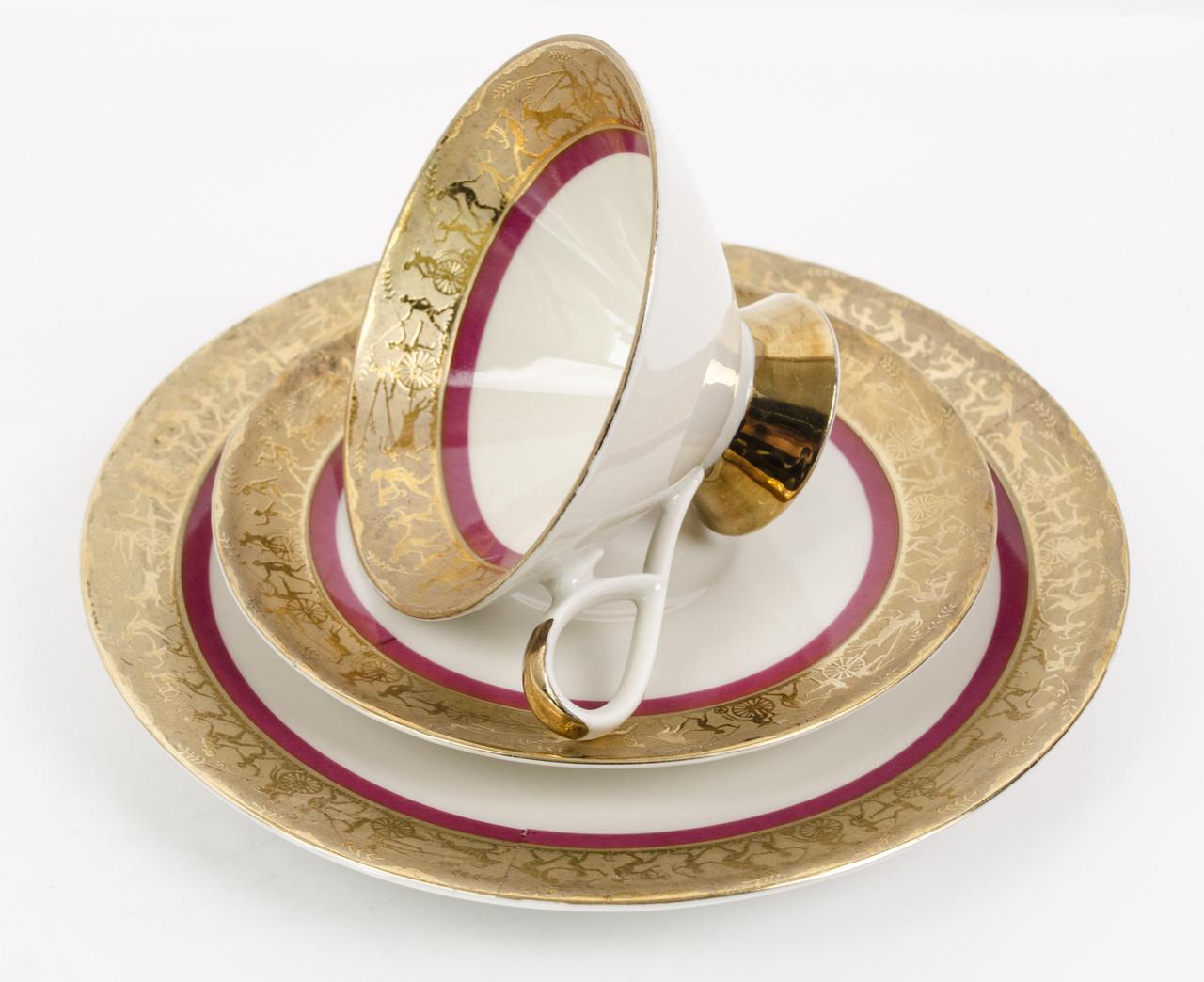 Антикварная чашка, блюдце, тарелка, фарфор, Германия, GAREIS WALDSASSEN