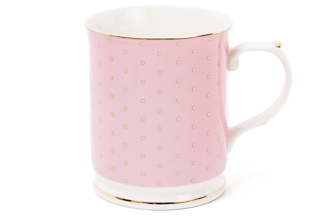 Кружка фарфоровая 400мл цвет - розовый в золотой горох (331-711)