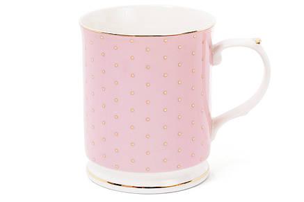 Кружка фарфоровая 400мл цвет - розовый в золотой горох (331-711), фото 2