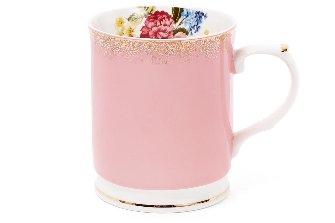 Кружка фарфоровая 400мл цвет - розовый с золотом (331-713)