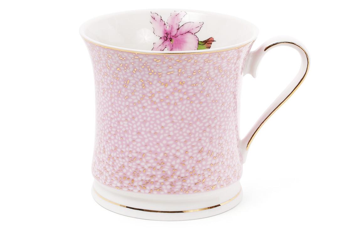 Кружка фарфоровая 375мл Ирис цвет - розовый с золотом (331-720)
