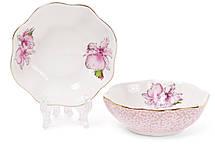 Набор (2шт) фарфоровых пиал 120мл Ирис цвет - розовый с золотом (331-724), фото 2