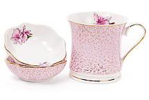 Набор (2шт) фарфоровых пиал 120мл Ирис цвет - розовый с золотом (331-724), фото 3