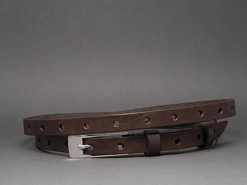 Ремень поясок женский кожаный «Перфорация» Svetlana Zubko ДхШ: 125х1,5 см. коричневый 2F15211