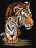 """Набор для рисования камнями на холсте """"Тигрица и тигренок"""""""