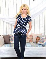 Женская блуза-туника из принтованного шифона, фото 1