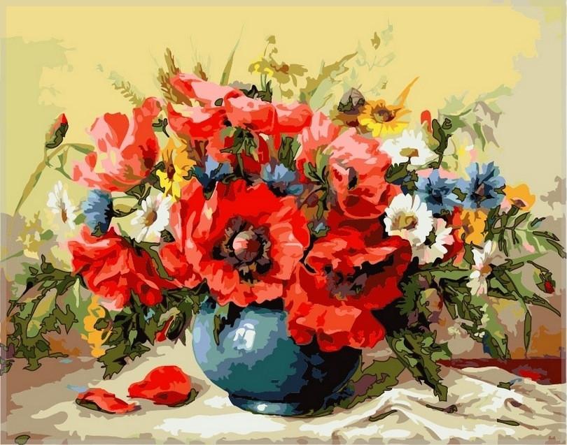 Набор-раскраска по номерам Маки с полевыми цветами Худ М Гаусс