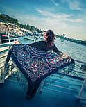 Русские сезоны 948-14, павлопосадский платок (шаль) из уплотненной шерсти с шелковой вязанной бахромой, фото 4