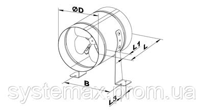 Габаритные и присоединительные размеры осевого вентилятора ВЕНТС ВКОМ