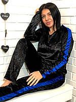 Теплый велюровый женский костюм кофта и штаны