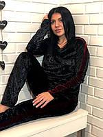 Брючный женский велюровый костюм черный