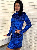 Женская одежда яркое короткое велюровое платье 44-46