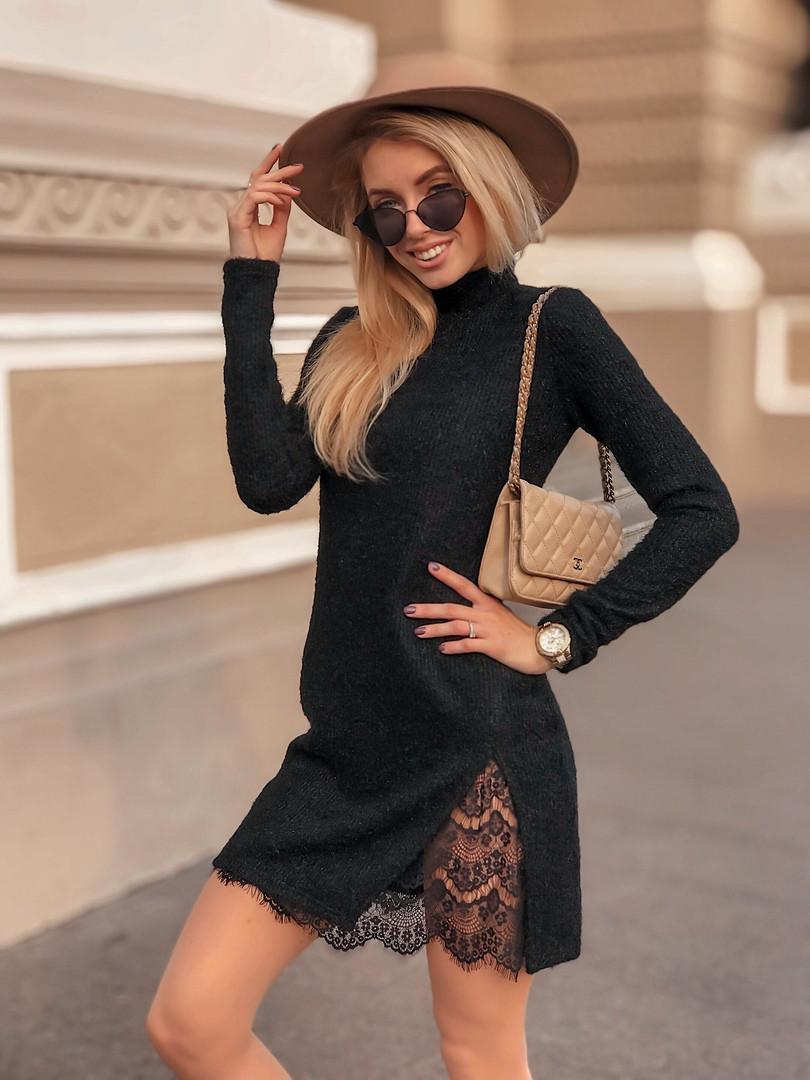 Платье-туника, ангора травка + гипюр. Размер: 42-44. Разные цвета. (5178)
