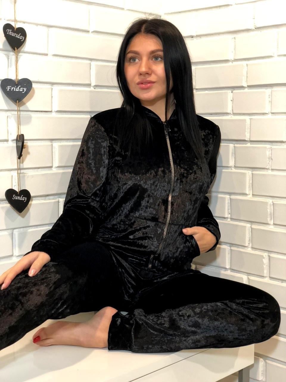 Велюровый черный женский домашний костюм на змейке 42-44