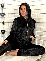 Велюровий чорний жіночий домашній костюм на змійці 42-44