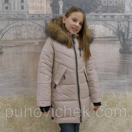 Красивая зимняя курточка для девочки с мехом
