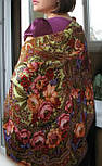 Счастливица 1122-16, павлопосадский платок (шаль) из уплотненной шерсти с шелковой вязанной бахромой, фото 4