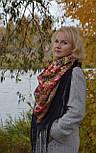 Счастливица 1122-16, павлопосадский платок (шаль) из уплотненной шерсти с шелковой вязанной бахромой, фото 8