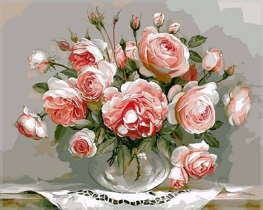 Набор-раскраска по номерам Розовый букет худ Бузин Игорь, фото 2