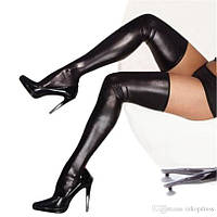 Чулки под кожу, латекс, винил + трусики. Чулки женские эротик. Размер: M/L/XL. Цвет черный.