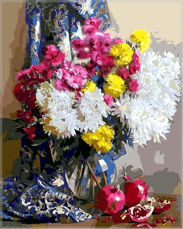 Набор-раскраска по номерам Хризантемы и гранаты худ Горячева Светлана
