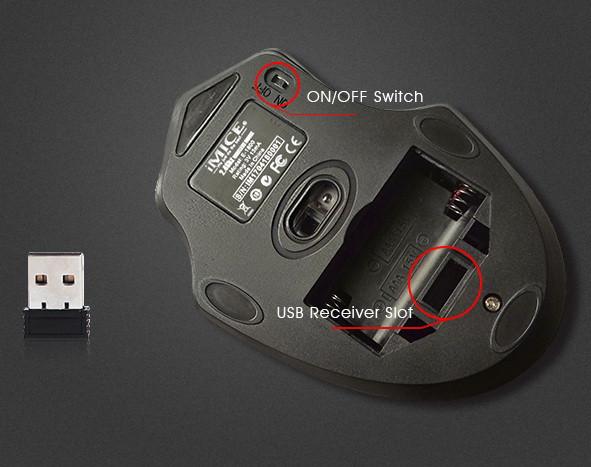 Фото игровой мыши беспроводная 2,4 ГГц 1600DPI IMICE E-1800 обратная сторона