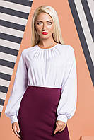 Белая блузка со складками и широкими рукавами, фото 1