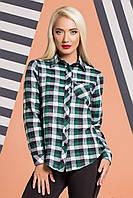 Теплая рубашка в зелено-серую клетку, фото 1
