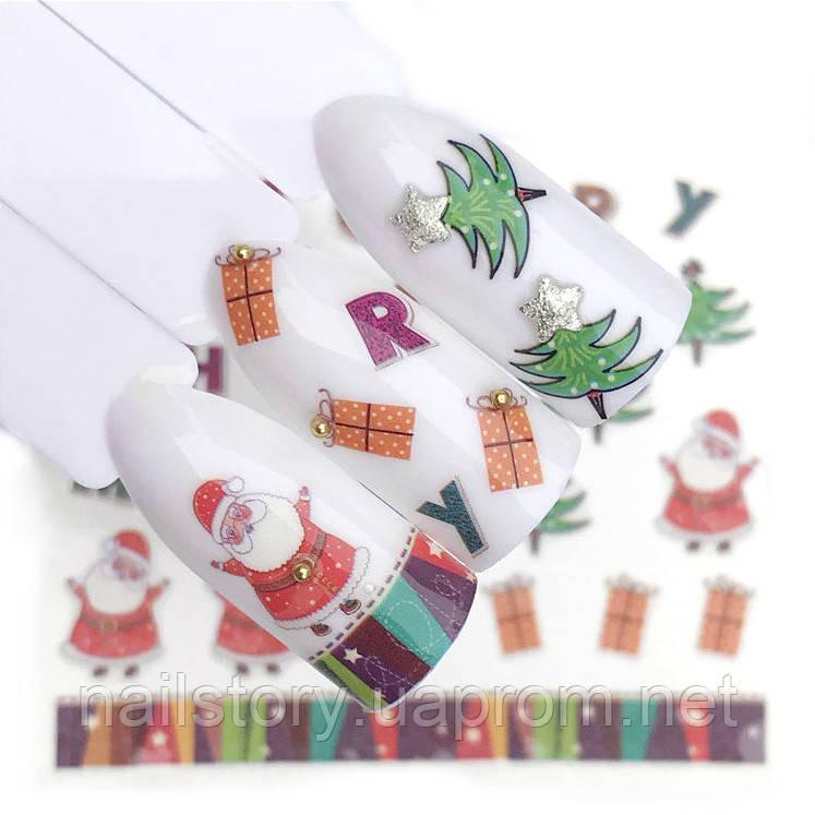 Новогодние наклейки для ногтей YZW-2161