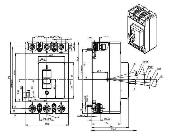 Габариты автоматических выключателей ВА51-35