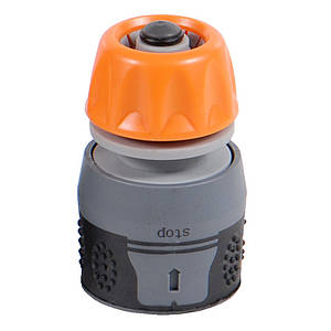 """Коннектор ½"""" быстросъёмный aqua stop на шланг ⅝"""" Flora (500202z)"""