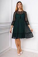 Свободное платье из евросетки с набивкой