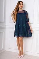 Женское платье синее с вышивкой на сетке