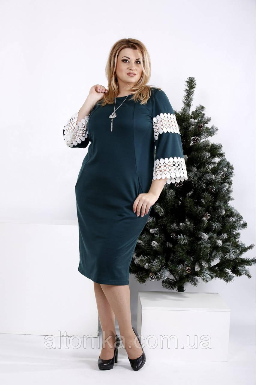 Женское красивое платье с кружевными рукавами | 42-74