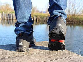 Ботинки зимние мужские черные Adidas climaproof нат. кожа реплика, фото 3